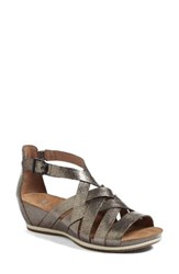 Dansko Women's Vivian Gladiator Sandal Pewter Leather