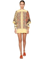 Etro Printed Silk Twill Mini Dress Multicolor