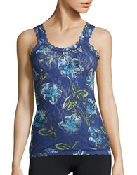 Hanky Panky Floral Print Lace Camisole Blue