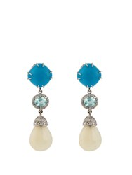 Nsr Nina Runsdorf Diamond Turquoise Opal And White Gold Earrings White Gold