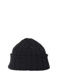 Ami Alexandre Mattiussi Cotton And Linen Beanie Knit Black