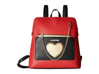 Love Moschino Chained Heart Backpack Red Multi Backpack Bags