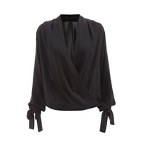 Wtr Empire Silk Wrap Blouse Black