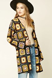 Forever 21 Geo Pattern Open Knit Cardigan Cream Mustard