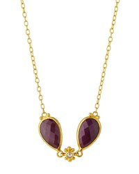 Gurhan Constantine 24K Double Ruby And Diamond Teardrop Pendant Necklace