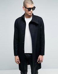 Allsaints Wool Overcoat With Funnel Neck Detail Black