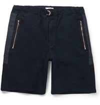 Oamc Shell Panelled Cotton Jersey Shorts Blue