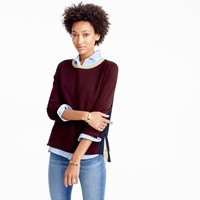 J.Crew Colorblock Crewneck Sweater With Side Snaps