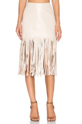 Karina Grimaldi Dylan Leather Skirt Beige