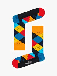 Happy Socks Argyle One Size Orange Blue