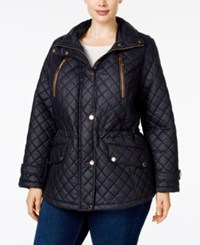 Michael Kors Plus Size Faux Leather Trim Hooded Jacket Navy