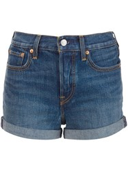 Levi's High Waisted Denim Shorts Blue