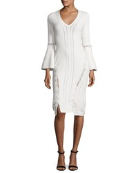 Jonathan Simkhai Lace Up Knit V Neck Dress Ivory