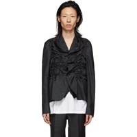 Comme Des Garcons Homme Plus Black And Blue Lame Blazer
