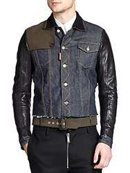 Dsquared Cropped Denim Jacket Blue
