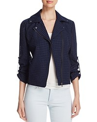 T Tahari Sara Tweed Moto Jacket Navy