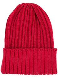 Kijima Takayuki Ribbed Beanie Hat Men Hemp Nylon Polyurethane One Size Red