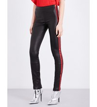 Haider Ackermann Striped Sides Leather Leggings Black Red