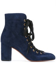 Chloe Miles Lace Up Ankle Boots Blue