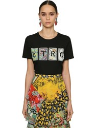 Etro Card Printed Logo Cotton Jersey T Shirt Black