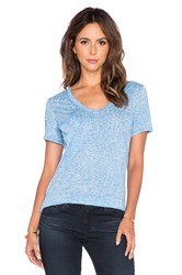 Bobi Burnout V Neck Pocket Tee Blue