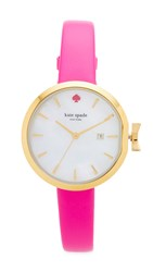 Kate Spade Park Row Leather Watch Pink White Gold