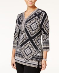 Jm Collection Plus Size Embellished Printed Tunic Only At Macy's Neutral Reflected Geo