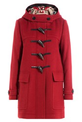 Burberry Brit Wool Duffle Coat Red
