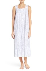 Eileen West Women's Cotton Ballet Nightgown White Blue