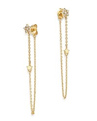 Moon And Meadow Diamond Star Front Back Draped Chain Earrings In 14K Yellow Gold 0.13 Ct. T.W. 100 Exclusive White Gold