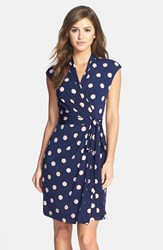 Petite Women's Eliza J Polka Dot Jersey Faux Wrap Dress Navy