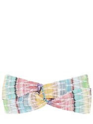 Missoni Zig Zag Viscose Knit Lame Headband Multicolor