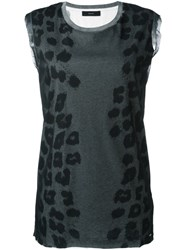 Diesel Animal Print Tank Top Grey