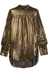 Ann Demeulemeester Lame Turtleneck Blouse Gold