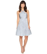 Rebecca Taylor Knot Neck Taffeta Dress Glacier Women's Dress Blue