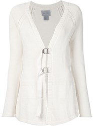 Maiyet Front Buckle V Neck Cardigan Red