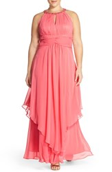 Eliza J Plus Size Women's Embellished Keyhole Neck Chiffon Gown