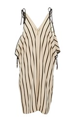 Rosetta Getty Open Shoulder Striped Romper Tan