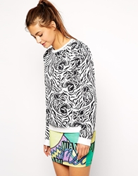 Illustrated People Zebra Tiger Print Sweater Whtblk