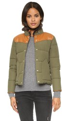 Penfield Rockwool Leather Yoke Down Jacket Lichen