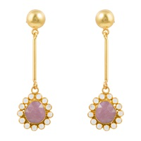 Kastur Jewels Art Deco Flower Sapphire And Crystal Earrings Gold Pink Purple