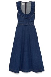 Co Belted Ruffle Trimmed Denim Midi Dress Indigo