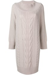Lorena Antoniazzi Cable Knit Sweater Dress Grey