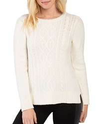 Kensie Punk Yarn Cable Knit Crewneck Sweater White