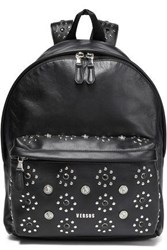 Versus By Versace Woman Embellished Leather Backpack Black
