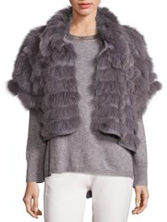 Halston Fox Fur And Wool Cropped Jacket Grey