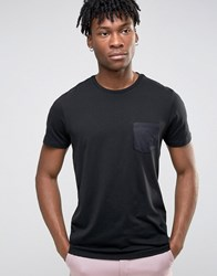 Burton Menswear Satin Pocket T Shirt Black