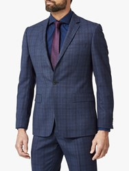 Richard James Mayfair Prince Of Wales Check Tailored Suit Jacket Navy