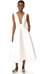 Monique Lhuillier Tea Length Gown Silk White