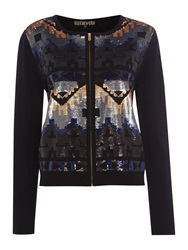 Biba Fully Sequined Zip Up Cardigan Multi Coloured